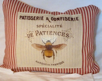 Bee Pillow Cover - French Ticking Pillow Cover - Bee pillow - Paris pillow - Red Stripe - Fall pillows - Vintage Ad - French Country decor