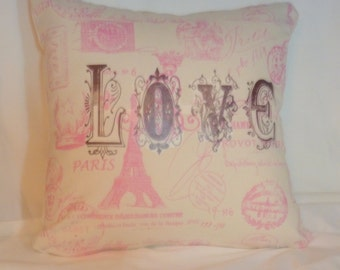 Decorative Paris Pillow cover - Pillows - pillow cover - Premier Prints French Stamp Pillow Cover - Eiffel Tower - Pink - 18x18 pillow cover