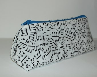 Zippered Flat Bottom Makeup Bag Pencil Case Music Print with Blue