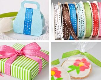 Personalized Satin Ribbon with Polka Dot Border, Professionally Printed Favor Ribbon, Wedding Ribbon, Birthday Ribbon and Gift Ribbon