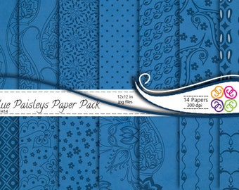 Blue Paisley Digital Paper Pack , Paisley Digital Scrapbooking Paper Pack  - Commercial Use ,Instant Download