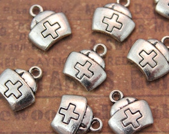 10 Nurse Hat Charms Pendants Antiqued Silver Double Sided 3D10 x 12 mm