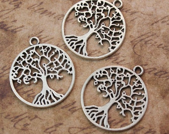 10 Round Tree Charms Tree Pendants Antique Tibetan Silver 25 mm