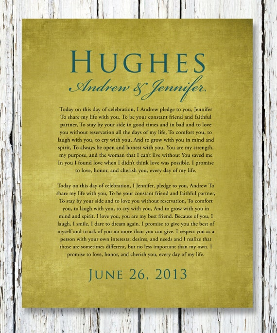 Personalized Wedding Vows: Items Similar To Personalized Wedding VOWS Poster Print