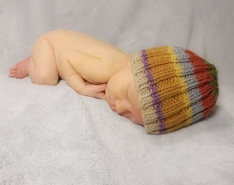 Baby Doctor Who Hat - Inspired by the 4th Doctor's Scarf Tom Baker - Newborn to 6mos