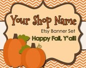 Thanksgiving Etsy Banner Set - Premade Etsy Banner - Etsy Shop Banner - Fall  Banner and Avatar Set - Pumpkin  Etsy Banner--268