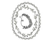 Hedgehog Embroidery Pattern Printable Woodland Animal Digital Downloadable Hand Embroidery PDF 0027