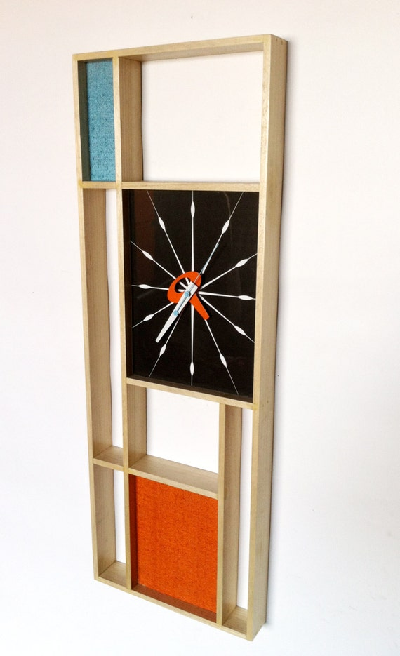 mid century modern mondrian clock retro modern tiki 1960s