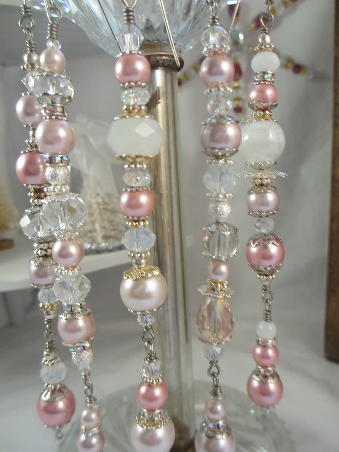 Sale pink pearl christmas ornament dangles christmas dangles for Christmas ornaments sale