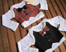 Twin Christmas Vest & Bow Tie Onesies, Twin Christmas Onesies, Twin Holiday Onesies, Baby Bow Tie, Baby Bowtie Onesie, Baby Boy Christmas