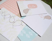 Set of 5 Blank Note Card Set, New Zealand Kiwi Bird