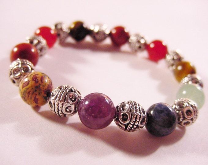 Chakra Bracelet , 7 Chakra Semi Precious Stone Bracelet, Harmony, Reiki Jewelry, Gift Idea, Free Shipping