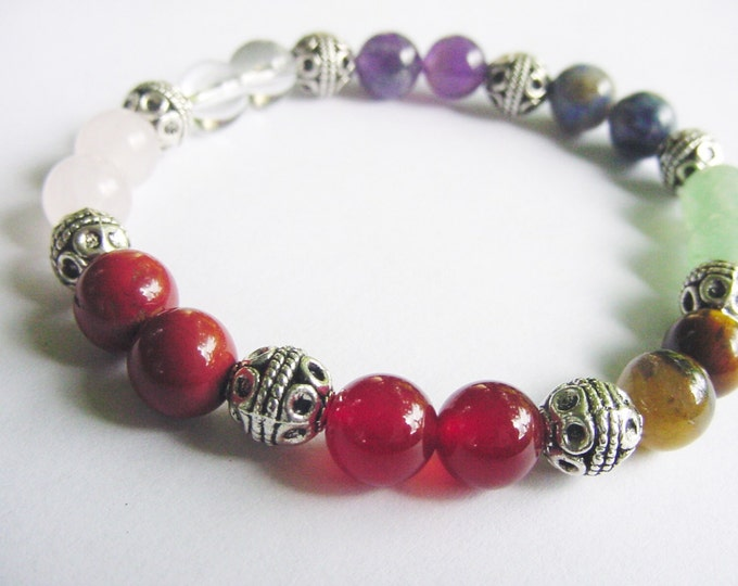 Chakra Bracelet 7 Chakra Gemstones, Beaded Bracelet, Chakra Balance, Reiki Jewelry, Chakra Jewelry