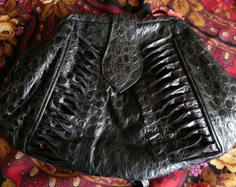 Black Leather Embossed Faux Crocodile Alligator Clutch Purse