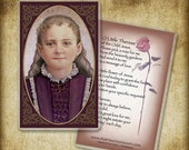 The Little Flower, Saint Therese of Lisieux Holy Card / Prayer Card, Catholic Art #0172