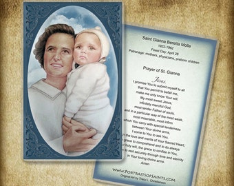 St. Gianna Molla Holy Card or Wood Magnet  #0094