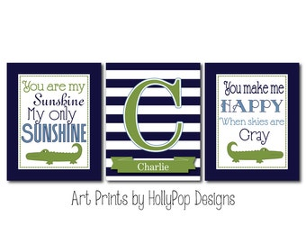 Boy Nursery Art Boy Nursery Wall Decor You are My Sunshine Wall Art Nursery Art Prints Navy Blue Green Alligator Art Alligator Nursery Decor