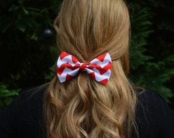 Red and White Chevron Hair Bow, Chevron Hair Bow, Hair Bow for Girls, Hair Bows for Women,Hairbow