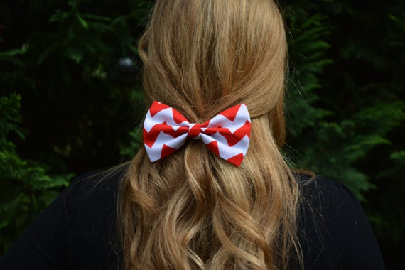 Red and white chevron hair bow chevron hair bow hair bow for like this item urmus Choice Image