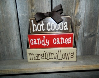 Hot Cocoa stacker blocks-Hot cocoa, Candy canes, Marshmallows