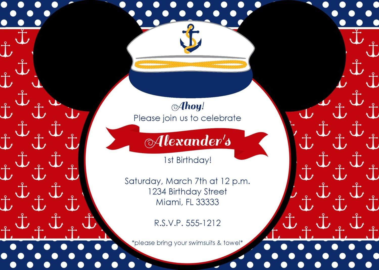 Nautical Mickey Mouse Birthday Invitation