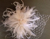 Kasey ... Bridal Feather Fascinator Hair Accessory. White or Ivory. Clip, Comb, Barrette, or Headband wedding