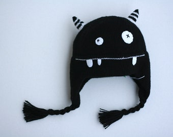 Monster knitted baby hat - Child knit hat - Infant monster hat  - Kids monster knitted hat