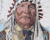 Native American Arikara Chief in headress - 8x10 Fine Art Print from hand coloured Pen and Ink Original
