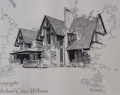 Architecture-Frank Lloyd Wright's Nathan Moore House- Fine Art Pen and Ink Print