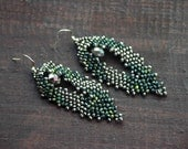 Beaded leaf earrings beadwork jewelry Earth tones seed bead jewelry green earrings by RITMS