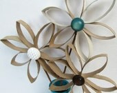 Cute and Simple Upcycled Cardboard Flowers in Wooden Teal Vase