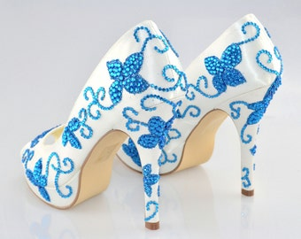 Swarovski My Something Blue Cobalt Crystal Glitter Bridal Platform High Heel Peeptoe Satin Pump