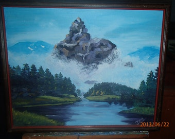 """Mountain Majesty - an original 16 x 20"""" oil painting of cloud shrouded mountain"""
