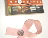 Ribbon Bookmark with a Cute Button-Pink and Brown- Great Gift for the Avid Reader, Paperback Books