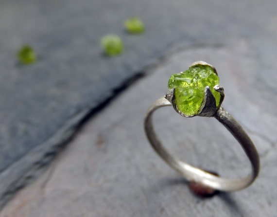 Raw Rough Peridot Rustic Sterling Silver Gemstone Stacking ring Recycled silver Green Stone Ring
