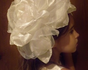 Wedding Head Piece Huge White Rose Spectacular Hat Clip Comb