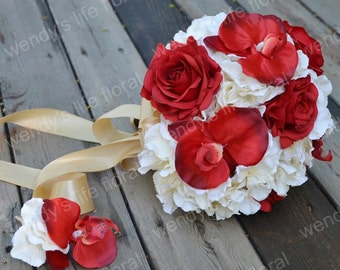 Wedding Bouquet Artificial Bouquet Wedding Flowers Real Touch Flowers red white orchid hydrangea