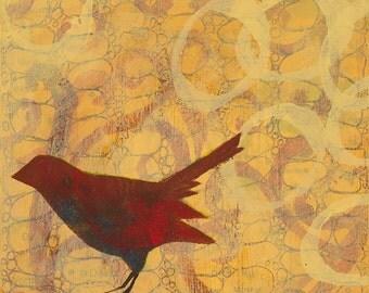 Red Bird With Kandinsky Circles