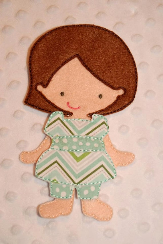 Jessica in the hoop paper doll embroidery by dejahvuedesigns