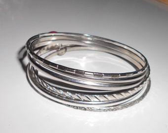 Vintage boho bangles, set of 6 bangle bracelets from the 1970s and early 1980s