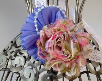 Vintage floral print headband, pink and blue headband, girls headband, baby headband, flower headband, floral hair accessory