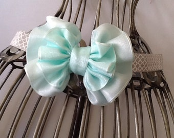 Mint green and gray quatrefoil headband, mint headband, gray headband, girls headband, hair bow, bow headband, baby headband, hair accessory