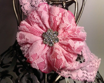 Pink lace headband, light pink flower with rhinestone center on stretch lace soft headband, girls headband, pink headband, hair accessory