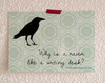 """raven like a writing desk quote Lewis carroll — 'mad hatter: """"why is a raven like a writing-desk""""""""have you guessed the riddle yet"""" the hatter said, turning to alice again""""no, i giv."""