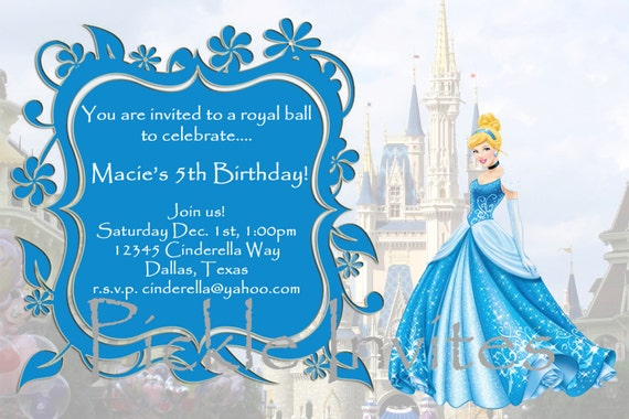 cinderella invitation to the ball template - items similar to cinderella princess invitation and thank
