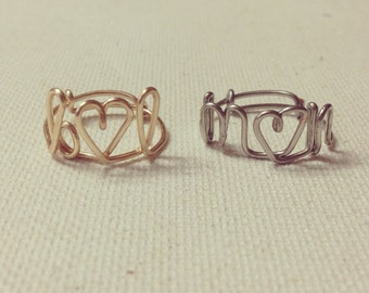Customized/ Personalized Monogram Heart Wire Rings
