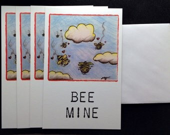 Bee Mine - Bee/Zom-BEE/Zombie Bee Flat Greeting Card 4-Pack, Valentine's Day
