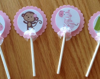 12 Jungle Jill Monkey baby shower cupcake toppers, hand crafted, adorable