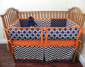 Custom Baby Bedding Set Kyle - Navy Chevron with Orange