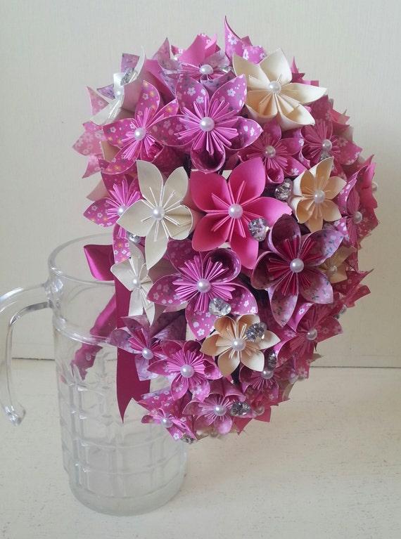 papier fleur origami bouquet de mariage cristaux cascade tear. Black Bedroom Furniture Sets. Home Design Ideas